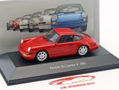 Porsche 911 (964) Carrera 4 ano 1991 vermelho 1:43 Atlas