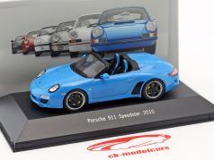 Porsche 911 (997) Speedster Bouwjaar 2010 blauw 1:43 Atlas