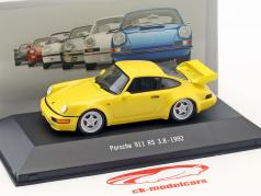 Porsche 911 (964) RS 3.8 Opførselsår 1992 gul 1:43 Atlas