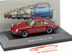 Porsche 911 Carrera 3.2 Baujahr 1984 mørk rød 1:43 Atlas
