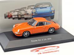 Porsche 911 S 2.4 Bouwjaar 1972 oranje 1:43 Atlas