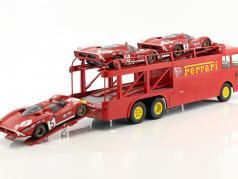 Fiat Bartoletti 306/2 Ferrari レーシング トランスポーター JCB Racing 赤 1:18 Norev