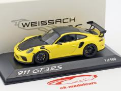 Porsche 911 GT3 RS Weissach pacote amarelo / preto 1:43 Minichamps