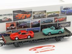vagão com Porsche 959 & Porsche 911 SC Cabrio 70 anos carros esportivos da Porsche conjunto Não. 5 1986 1:87 Märklin