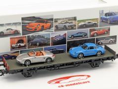 Wagon with Porsche Boxter & Porsche 911 993 70 years Porsche sports cars set No. 6 1:87 Märklin