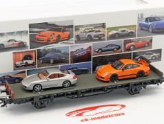 Waggon met Porsche 996 4S & Porsche 997 GT3 RS 70 jaar Porsche sportwagens reeks Nee. 7 1:87 Märklin