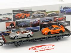 Waggon mit Porsche 996 4S & Porsche 997 GT3 RS 70 Jahre Porsche-Sportwagen Set Nr. 7 1:87 Märklin