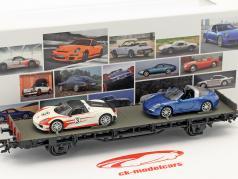 vagão com Porsche 918 Spyder & 911 Targa 4S 70 anos carros esportivos da Porsche conjunto Nr. 8 1:87 Märklin