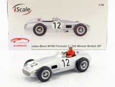 S. Moss Mercedes-Benz W196 #12 formule 1 1955 met bestuurder figuur rood overhemd 1:18 iScale