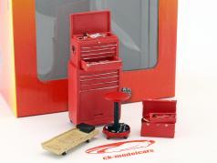 Tire Brigade Shop 4-Piece værktøj sæt rød 1:18 MotorHeadMiniatures