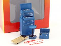 Tire Brigade Shop 4-Piece værktøj sæt blå 1:18 MotorHeadMiniatures