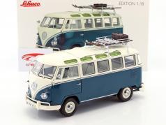 Volkswagen VW T1b Samba bus vintersport blå / hvid 1:18 Schuco