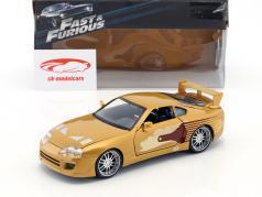 Slap Jack's Toyota Supra ano de construção 1995 filme 2 Fast 2 Furious (2003) ouro 1:24 Jada Toys