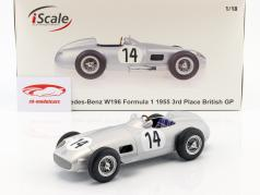 Karl Kling Mercedes-Benz W196 #14 3ª britânico GP fórmula 1 1955 1:18 iScale