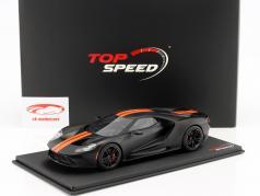 Ford GT année de construction 2017 natte noir avec orange rayures 1:18 TrueScale