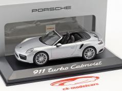 Porsche 911 (991) Turbo Cabriolet zilver 1:43 Herpa