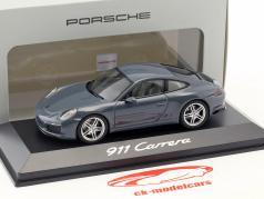 Porsche 911 (991 II) Carrera Coupe 建設年 2016 黒鉛 青い 1:43 Herpa