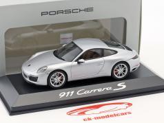 Porsche 911 (991 II) Carrera S Coupe Ano 2016 prata metálico 1:43 Herpa