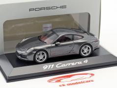 Porsche 911 (991) Carrera 4 Coupe grijs metalen 1:43 Herpa