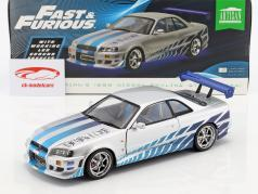 Brian's Nissan Skyline GT-R (BNR34) 1999 Movie 2 Fast 2 Furious (2003) silver / blue 1:18 Greenlight