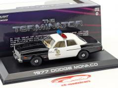Dodge Monaco Metropolitan Police ano de construção 1977 filme Terminator (1984) preto / branco 1:43 Greenlight