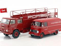 2-Car Set MAN 635 Renntransporter und Mercedes-Benz L319 Porsche Renndienst 1:18 Schuco / Norev