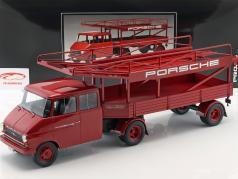 Opel Blitz lastbil bil transportør Porsche rød 1:18 Schuco