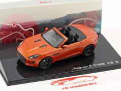 Jaguar F-Type V8-S Cabriolet year 2013 fire sand metallic 1:43 Ixo