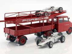 Opel Blitz camion voiture transporteur Porsche rouge 1:18 Schuco