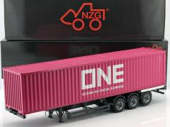 Set Semitrailer International with 40 FT Container Ocean Network Express magenta 1:18 NZG