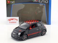 Fiat Abarth 500 preto / vermelho 1:18 Bburago