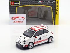 Fiat Abarth 500 Assetto Corse #49 wit / rood 1:24 Bburago