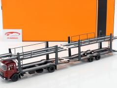 MAN Car transporter with Trailer year 1970 red / grey 1:43 Ixo
