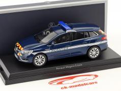 Renault Megane Estate Gendarmerie Baujahr 2016 cosmos blau metallic 1:43 Norev