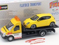 Alfa Romeo Mito met flatbed transporter geel / wit / rood 1:43 Bburago