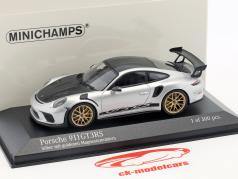 Porsche 911 (991 II) GT3 RS paquete Weissach 2018 plata con dorado llantas 1:43 Minichamps