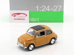 Fiat Nuova 500 year 1957 dark yellow 1:24 Welly