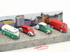 4-Car Set Vintage S.O.S policía & departamento de bomberos Paquete de regalo 1:64 Majorette