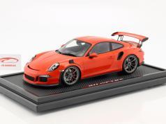 Porsche 911 (991) GT3 RS lava naranja con escaparate 1:12 Spark