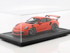 Porsche 911 (991) GT3 RS lava oranje met vitrine 1:12 Spark