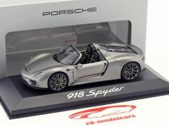 Porsche 918 Spyder Baujahr 2013 liquid metal silber 1:43 Minichamps