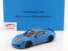 Porsche 911 (991) Carrera S Martini com Mostruário Ano 2014 azul 1:18 Spark