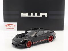 Porsche 911 (991) R ano de construção 2016 preto / vermelho com mostruário 1:18 Spark