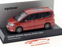 Nissan Serena minivan Highway Star G Bouwjaar 2014 koraal rood metalen 1:43 Kyosho