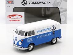 Volkswagen VW Type 2 T1 busje VW klantenservice blauw / wit 1:24 MotorMax