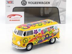 Volkswagen VW Type 2 T1 busje Flower Power 2 geel / oranje 1:24 MotorMax