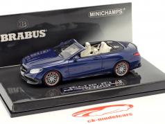 Brabus 850 baserede på Mercedes-Benz AMG S 63 Cabriolet Opførselsår 2016 mørkeblå 1:43 Minichamps
