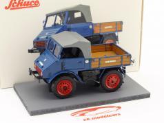 Mercedes-Benz Unimog 401 med træ barneseng blå 1:32 Schuco