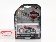 Harley Davidson FLH Duo Glide Bouwjaar 1958 rood / wit 1:24 Maisto