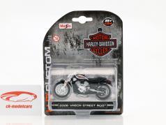 Harley Davidson VRSCR Street Rod ano de construção 2006 prata / preto 1:24 Maisto